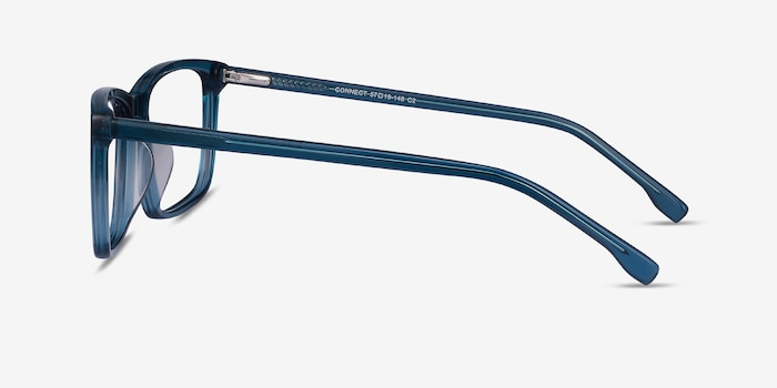 Connect Green blue Acetate Eyeglass Frames from EyeBuyDirect, Side View