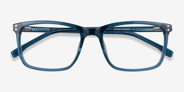 Connect Green blue Acetate Eyeglass Frames from EyeBuyDirect, Closed View