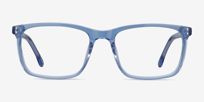 Connect Blue Acetate Eyeglass Frames from EyeBuyDirect, Front View
