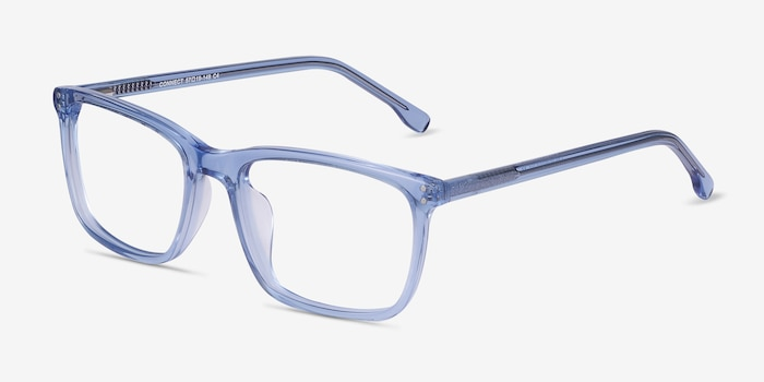 Connect Blue Acetate Eyeglass Frames from EyeBuyDirect, Angle View
