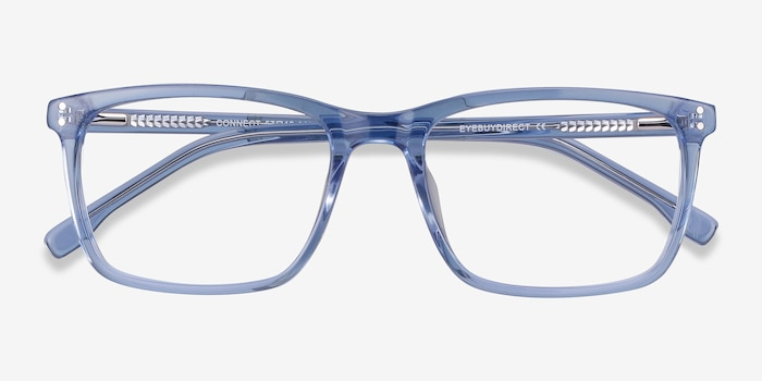 Connect Blue Acetate Eyeglass Frames from EyeBuyDirect, Closed View