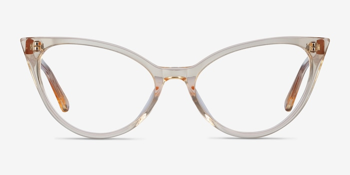 Quartet Clear Yellow Acetate Eyeglass Frames from EyeBuyDirect, Front View