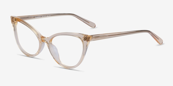 Quartet Clear Yellow Acetate Eyeglass Frames from EyeBuyDirect, Angle View