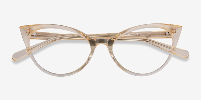Quartet Clear Yellow Acetate Eyeglass Frames from EyeBuyDirect, Closed View