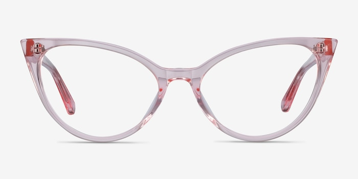 Quartet Clear Pink Acetate Eyeglass Frames from EyeBuyDirect, Front View