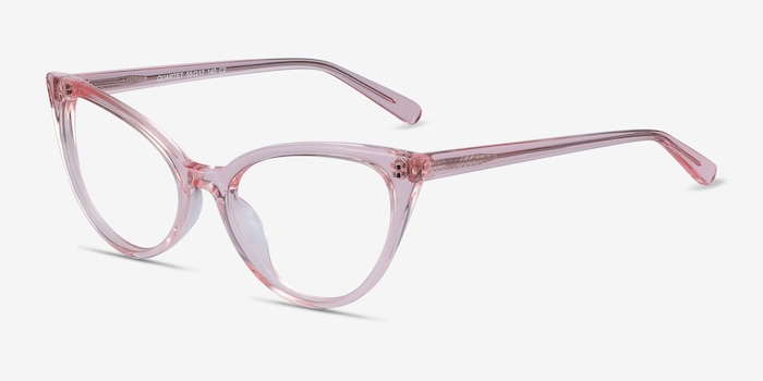 Quartet Clear Pink Acetate Eyeglass Frames from EyeBuyDirect, Angle View