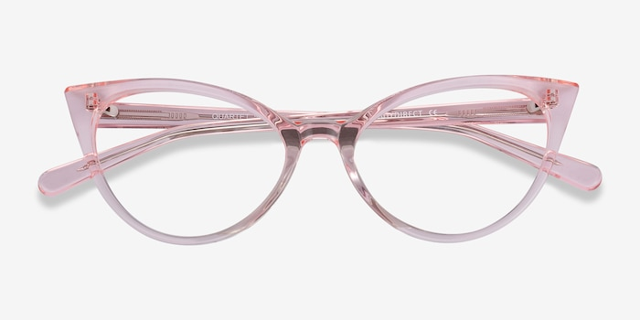 Quartet Clear Pink Acetate Eyeglass Frames from EyeBuyDirect, Closed View