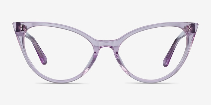 Quartet Clear Purple Acetate Eyeglass Frames from EyeBuyDirect, Front View