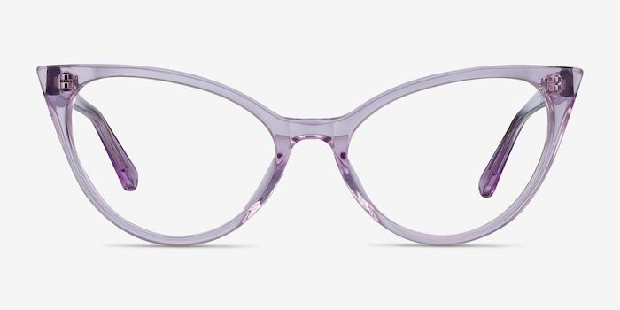 Quartet Clear Purple Acétate Montures de Lunettes d'EyeBuyDirect, Vue de Face