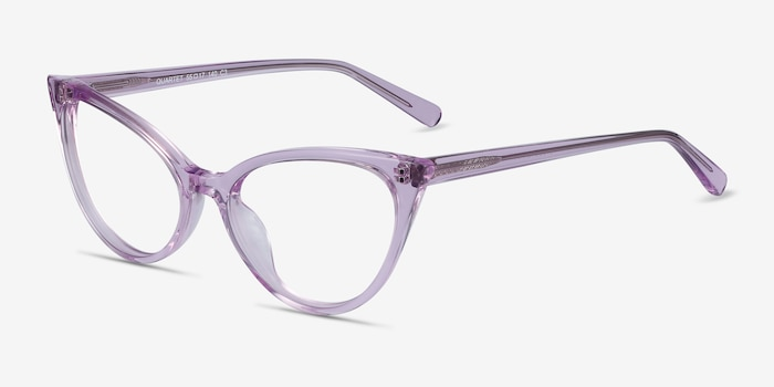 Quartet Clear Purple Acetate Eyeglass Frames from EyeBuyDirect, Angle View