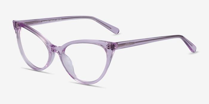 Quartet Clear Purple Acétate Montures de Lunettes d'EyeBuyDirect, Vue d'Angle