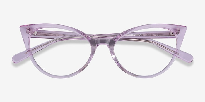 Quartet Clear Purple Acetate Eyeglass Frames from EyeBuyDirect, Closed View