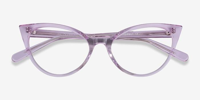 Quartet Clear Purple Acétate Montures de Lunettes d'EyeBuyDirect, Vue Rapprochée