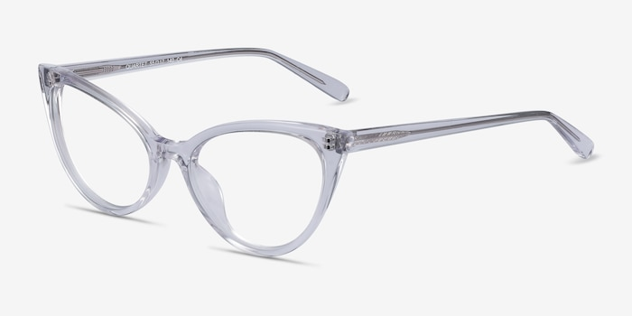 Quartet Clear Acetate Eyeglass Frames from EyeBuyDirect, Angle View