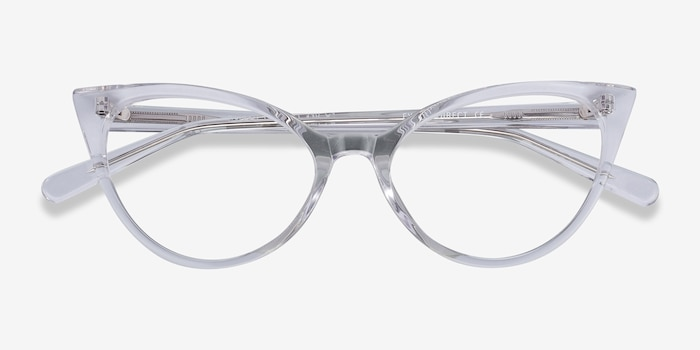Quartet Clear Acetate Eyeglass Frames from EyeBuyDirect, Closed View