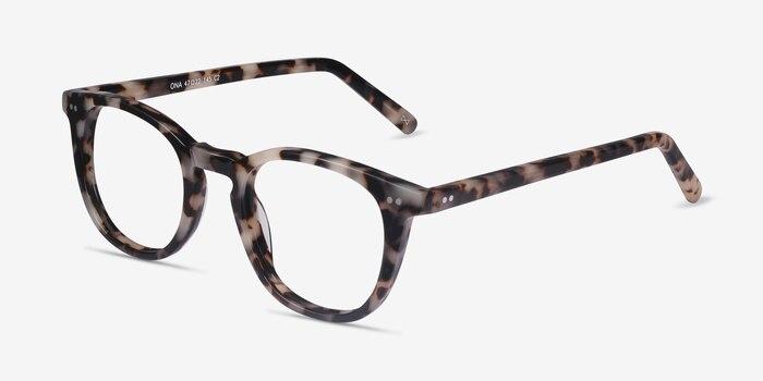Ona Flecked Ivory Acetate Eyeglass Frames from EyeBuyDirect, Angle View
