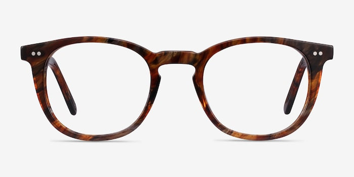 Ona Marbled Havana Acetate Eyeglass Frames from EyeBuyDirect, Front View