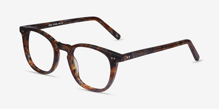 Ona Marbled Havana Acetate Eyeglass Frames from EyeBuyDirect, Angle View