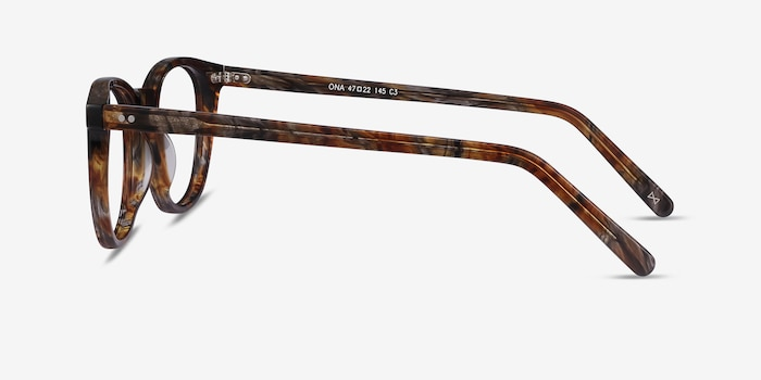 Ona Marbled Havana Acetate Eyeglass Frames from EyeBuyDirect, Side View
