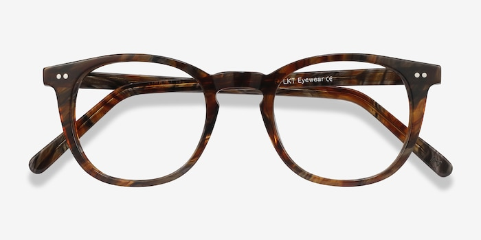 Ona Marbled Havana Acetate Eyeglass Frames from EyeBuyDirect, Closed View