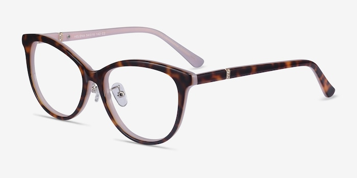 Helena Tortoise Pink Acetate Eyeglass Frames from EyeBuyDirect, Angle View
