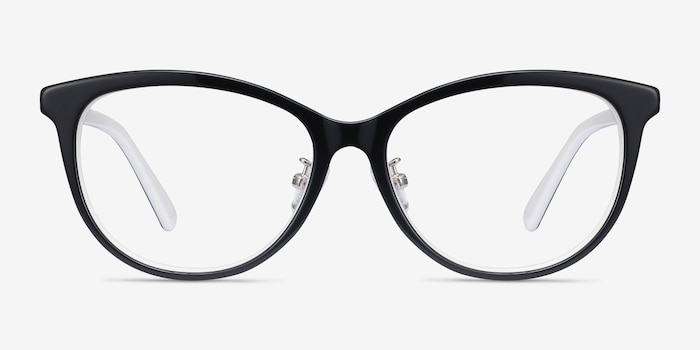 Helena Black White Acetate Eyeglass Frames from EyeBuyDirect, Front View