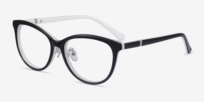 Helena Black White Acétate Montures de Lunette de vue d'EyeBuyDirect, Vue d'Angle
