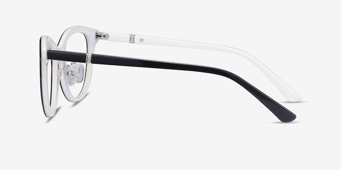Helena Black White Acetate Eyeglass Frames from EyeBuyDirect, Side View