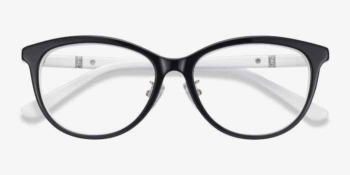 Helena Black White Acetate Eyeglass Frames from EyeBuyDirect, Closed View