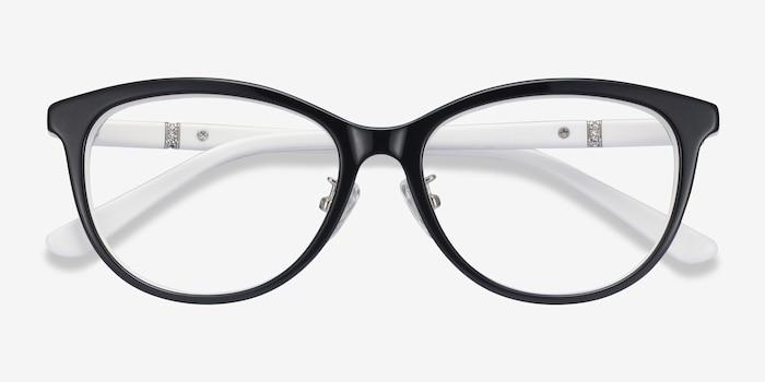 Helena Black White Acétate Montures de Lunette de vue d'EyeBuyDirect, Vue Rapprochée