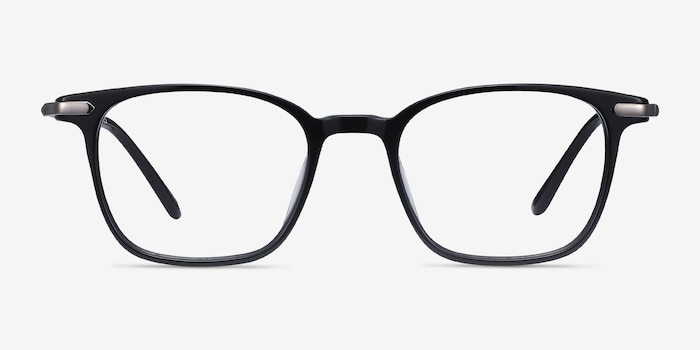Cinema Black Acetate Eyeglass Frames from EyeBuyDirect, Front View