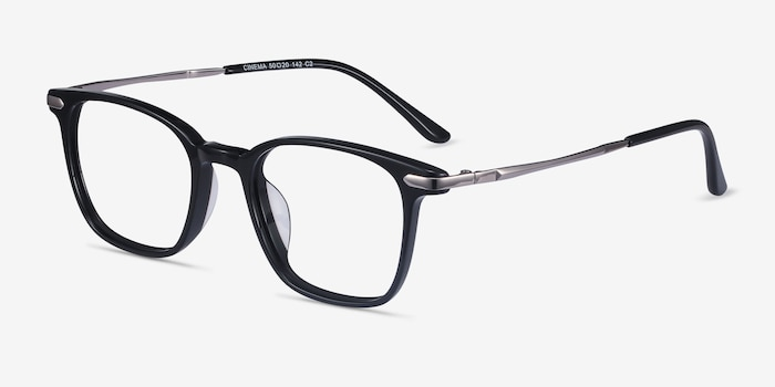 Cinema Black Acetate Eyeglass Frames from EyeBuyDirect, Angle View