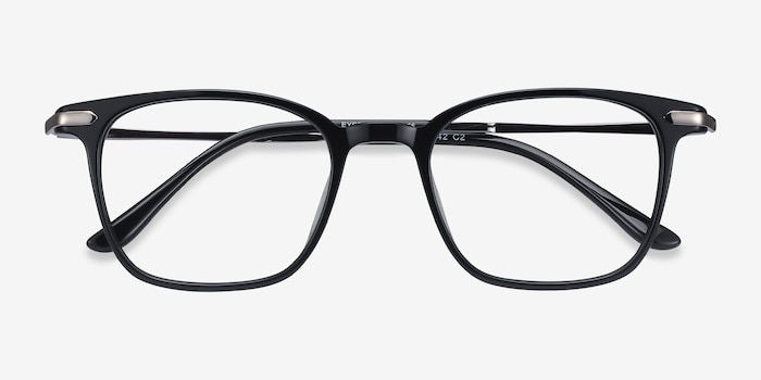 Cinema Black Acetate Eyeglass Frames from EyeBuyDirect, Closed View
