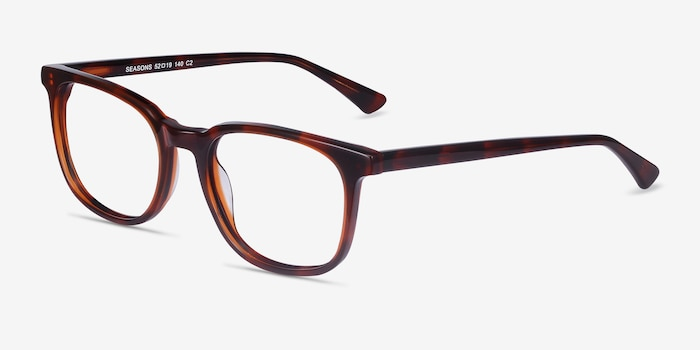 Seasons Brown Tortoise Acetate Eyeglass Frames from EyeBuyDirect, Angle View