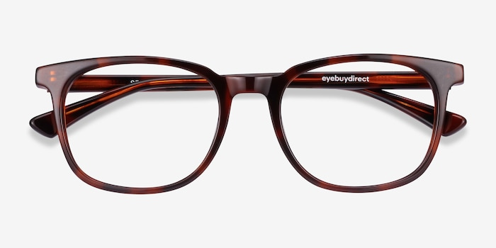 Seasons Brown Tortoise Acetate Eyeglass Frames from EyeBuyDirect, Closed View