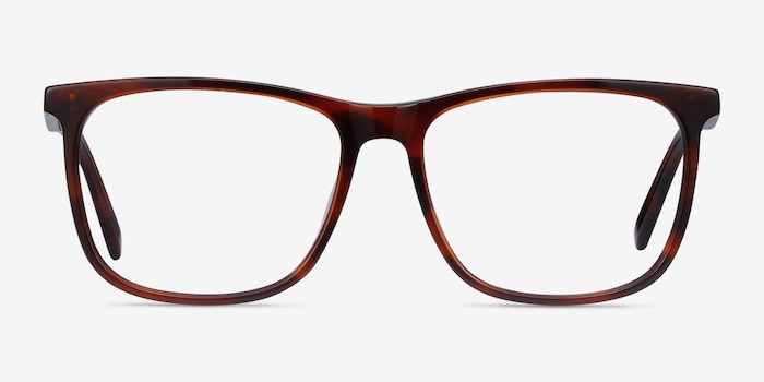 Mezzanine Brown Acetate Eyeglass Frames from EyeBuyDirect, Front View