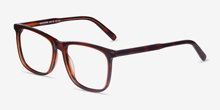 Mezzanine Brown Acetate Eyeglass Frames from EyeBuyDirect, Angle View