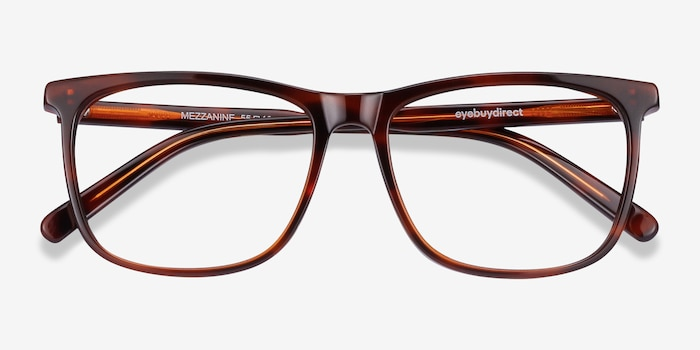 Mezzanine Brown Acetate Eyeglass Frames from EyeBuyDirect, Closed View