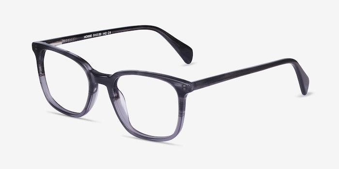 Howie Gray Striped Acetate Eyeglass Frames from EyeBuyDirect, Angle View