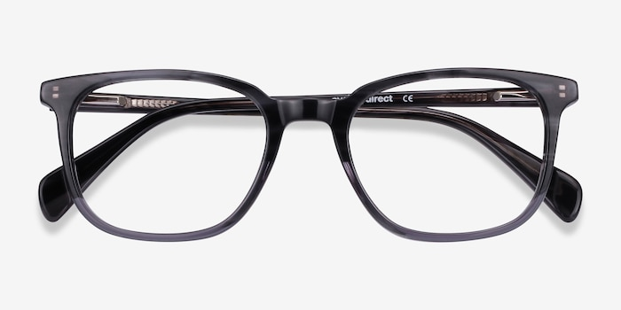 Howie Gray Striped Acetate Eyeglass Frames from EyeBuyDirect, Closed View