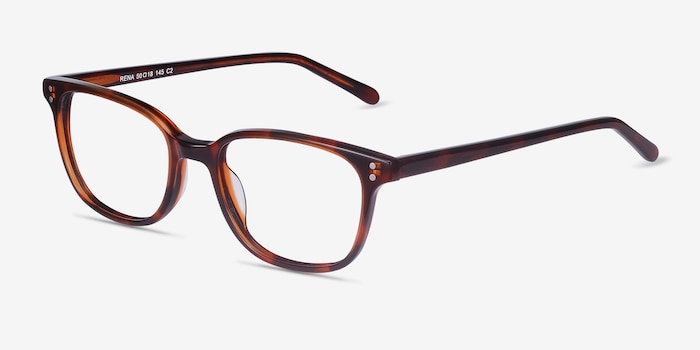 Rena Brown Tortoise Acétate Montures de Lunette de vue d'EyeBuyDirect, Vue d'Angle