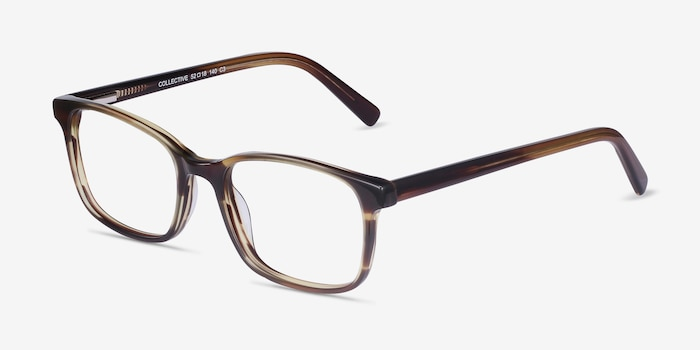 Collective Tortoise Acetate Eyeglass Frames from EyeBuyDirect, Angle View
