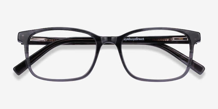 Collective Gray Acetate Eyeglass Frames from EyeBuyDirect, Closed View