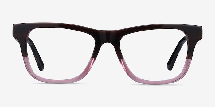 Feeling Brown Purple Acetate Eyeglass Frames from EyeBuyDirect, Front View