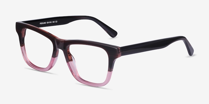 Feeling Brown Purple Acetate Eyeglass Frames from EyeBuyDirect, Angle View