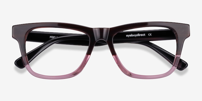 Feeling Brown Purple Acetate Eyeglass Frames from EyeBuyDirect, Closed View