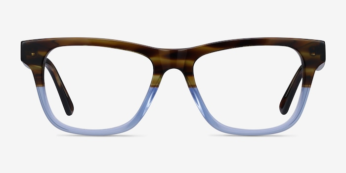 Feeling Brown Blue Acetate Eyeglass Frames from EyeBuyDirect, Front View