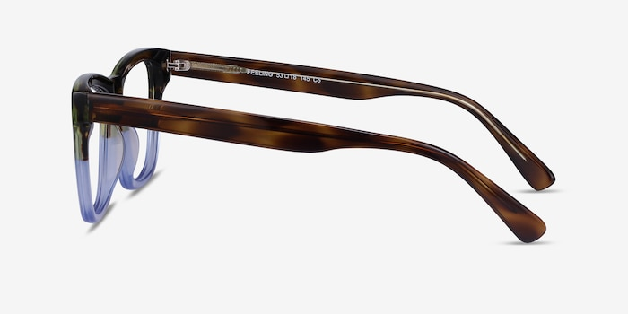 Feeling Brown Blue Acetate Eyeglass Frames from EyeBuyDirect, Side View