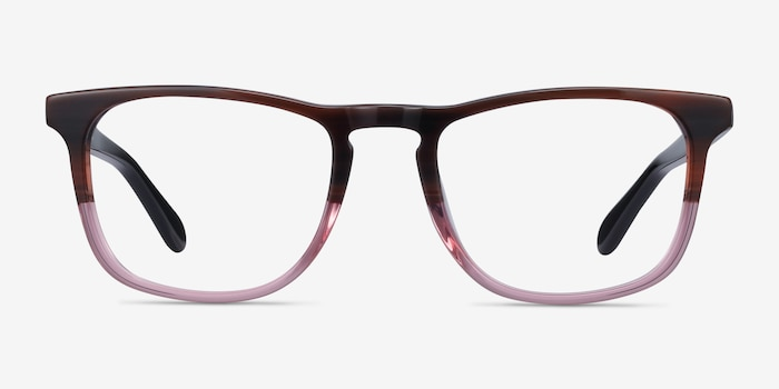 Found Brown Purple Acetate Eyeglass Frames from EyeBuyDirect, Front View