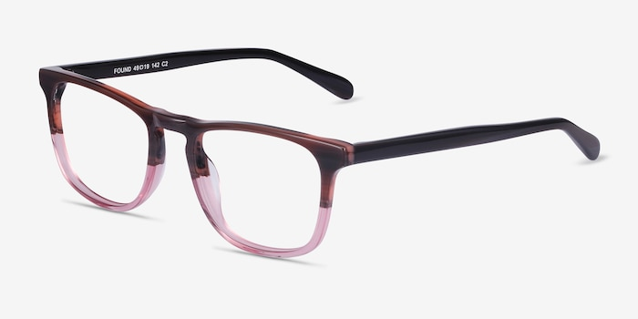 Found Brown Purple Acetate Eyeglass Frames from EyeBuyDirect, Angle View